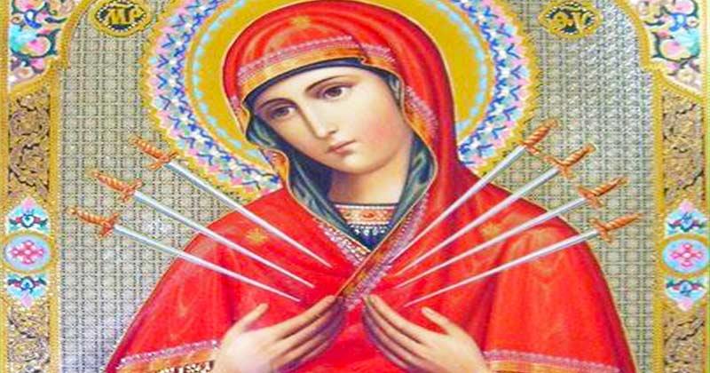 """Icoana Maicii Domnului """"Îmblânzirea inimilor împietrite"""" care mângâie, îmblânjește, împrăștie necazurile și face minuni mari! 7 săgeți străpung inima Maicii Sfinte!"""